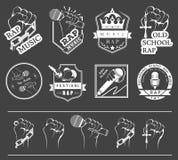 Metta il logos e Badges la musica rap Immagini Stock
