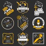 Metta il logos e Badges la musica rap Immagini Stock Libere da Diritti