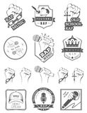 Metta il logos e Badges la musica rap Fotografie Stock