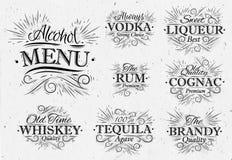 Metta il menu dell'alcool d'annata Fotografia Stock Libera da Diritti