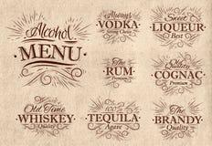 Metta il menu dell'alcool retro Fotografie Stock Libere da Diritti