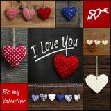 Metta il messaggio dell'amore del biglietto di S. Valentino del collage con i cuori variopinti del tessuto Fotografie Stock