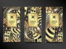 Metta il modello per il pacchetto dal fondo astratto di lusso dell'universo in oro d'argento nero Fotografia Stock Libera da Diritti