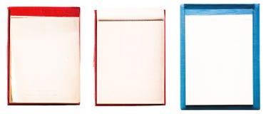 Metta il taccuino aperto della pagina in bianco dell'annata Vecchio blocco note della carta blu Immagini Stock