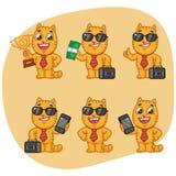 Metta il telefono della valigia della tazza di Cat Character Businessman Holding Money Fotografia Stock