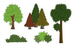 Metta il vario albero di vettore isolato su fondo bianco la forma del fumetto del disegno di molti copre di foglie, cespuglio e f royalty illustrazione gratis