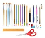 Metta includono le matite di Ana delle penne illustrazione di stock