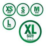 metta l'abbigliamento di dimensione di simboli delle icone, dimensione standard dell'abbigliamento di misura letterale da grande  illustrazione vettoriale