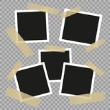 Metta l'annata, retro strutture della foto con il nastro adesivo Stile dell'annata Elementi di progettazione di vettore isolati s illustrazione di stock