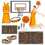 Metta l'atleta delle merci di sport delle icone, la palla, le scarpe da tennis, forma Fotografie Stock Libere da Diritti