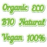 Metta l'autoadesivo, il eco amichevole e le etichette dell'alimento biologico, raccolta di vettore delle etichette per i bio- ali illustrazione vettoriale