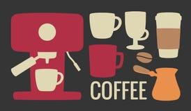 Metta l'icona del caffè Macchina, cezve o turco del caffè, caffettiera, fagioli, tazza Per il web, il manifesto, il menu, il caff Fotografie Stock
