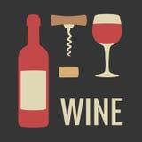 Metta l'icona del vino Bottiglia, bicchiere di vino, sughero, cavaturaccioli Illustrazione piana di vettore Per il web, grafici d Fotografia Stock Libera da Diritti