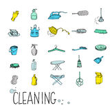Metta l'icona di servizio di pulizia Fotografie Stock Libere da Diritti