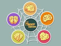 Metta l'icona Halloween sul fondo di colore Halloween felice Regalo Fotografie Stock Libere da Diritti