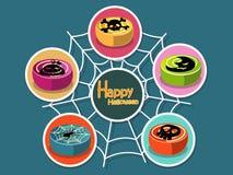 Metta l'icona Halloween sul fondo di colore Halloween felice Regalo Immagine Stock