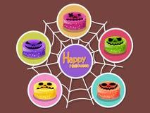 Metta l'icona Halloween sul fondo di colore Halloween felice Regalo Fotografia Stock Libera da Diritti