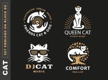 Metta l'illustrazione con i gatti, progettazione di logo dell'emblema illustrazione vettoriale