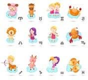 Metta l'illustrazione con i segni dello zodiaco del fumetto illustrazione vettoriale