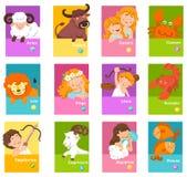 Metta l'illustrazione con i segni dello zodiaco del fumetto royalty illustrazione gratis