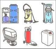 Metta l'illustrazione di attrezzature per la pulizia Fotografie Stock Libere da Diritti