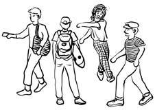 Metta l'illustrazione di schizzo del disegno della mano di scarabocchio di vettore di attività della persona illustrazione vettoriale
