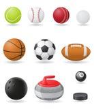 Metta l'illustrazione di vettore delle palle di sport delle icone Immagini Stock