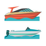Metta l'imbarcazione a motore e la piccola barca con il motore fuoribordo royalty illustrazione gratis