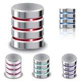 Metta la base di dati e l'icona del disco rigido Immagini Stock