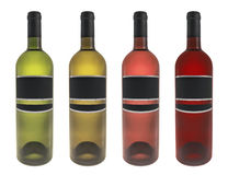 Metta la bottiglia di vino isolata illustrazione di stock