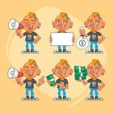 Metta la carta di Holding Megaphone Money dell'artista del tatuaggio del carattere Immagine Stock