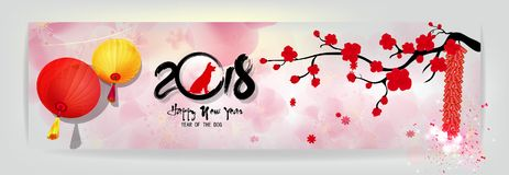 Metta la cartolina d'auguri 2018 del buon anno dell'insegna ed il nuovo anno cinese del cane, fondo del fiore di ciliegia fotografie stock