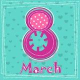 Metta la cartolina d'auguri del giorno delle donne dell'8 marzo 3 Fotografie Stock