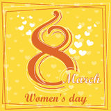 Metta la cartolina d'auguri del giorno delle donne dell'8 marzo 5 Immagine Stock