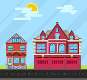 Metta la casa delle costruzioni, la vecchia casa e la caserma dei pompieri Vettore IL piano Fotografia Stock Libera da Diritti
