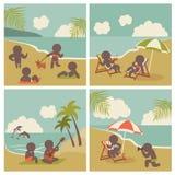 Metta la gente di vacanza dell'icona sul mare Immagini Stock