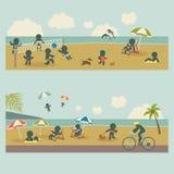 Metta la gente di vacanza dell'icona sul mare Fotografia Stock