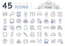 Metta la linea alimento delle icone Fotografia Stock