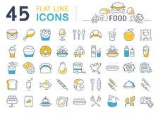 Metta la linea alimento delle icone Fotografie Stock Libere da Diritti