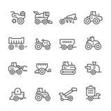 Metta la linea icone di macchinario agricolo royalty illustrazione gratis