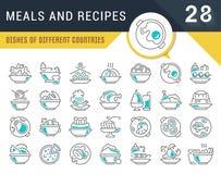 Metta la linea icone di vettore di pasti e di ricette illustrazione di stock