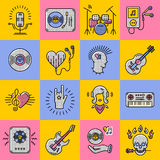 Metta la linea la roccia di arte, il jazz, il punk, strumenti delle icone di musica Fotografia Stock