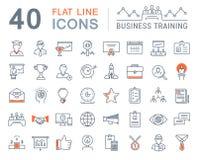 Metta la linea piana addestramento di vettore di affari delle icone Fotografia Stock Libera da Diritti