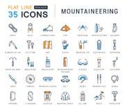Metta la linea piana alpinismo di vettore delle icone Fotografia Stock