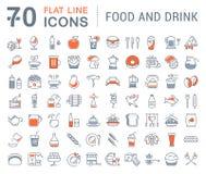 Metta la linea piana bevande ed alimento di vettore delle icone Fotografia Stock