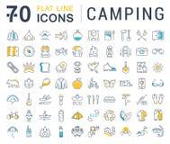 Metta la linea piana campeggio di vettore delle icone Fotografie Stock