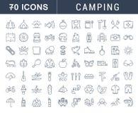 Metta la linea piana campeggio di vettore delle icone royalty illustrazione gratis