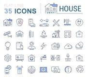 Metta la linea piana casa intelligente di vettore delle icone Fotografia Stock Libera da Diritti