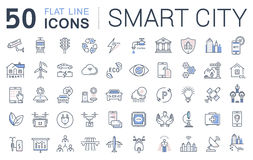 Metta la linea piana città di vettore di Smart delle icone Fotografia Stock
