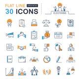 Metta la linea piana elezioni di vettore delle icone Immagini Stock Libere da Diritti